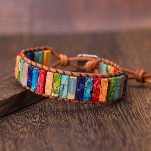 Boho Natural Stone Leather Bracelet, HANDMADE